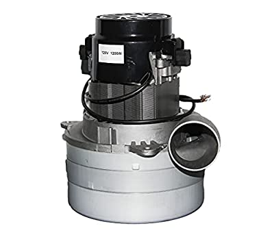 """LifeSupplyUSA Central Vacuum 3 Stage Motor Compatible with Ametek 116765 High Suction Tangential Bypass Discharge Blower METAL Horn 5.7"""" inch with Wires"""