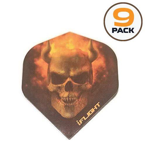 9Pack Designa iFLIGHTS Flaming gehörnten Ghost Skull 100Mikron Extra Stark Standard Dart Flights