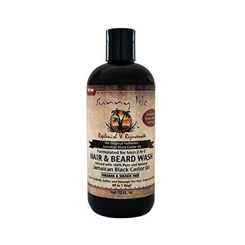 Sunny Isle Jamaican Black Castor Oil 2 in 1 Hair & Beard Wash for Men, Black, 12 Fluid Ounce