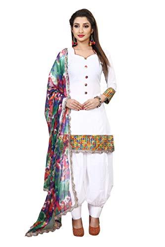 Fostiva Women's Cotton Unstitched Salwar Suit (white shree patiyala_White_Free Size)