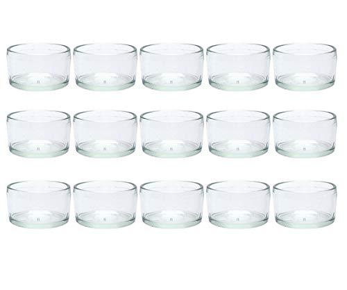 hocz Teelichtgläser Windlicht Set | 8/12/24 teilig | Typ 025 | Rund Hochwertiges Glas | Glasdose Glasgefäß Tischdeko Teelichtgläser Hochzeitsdeko (24 Stück)