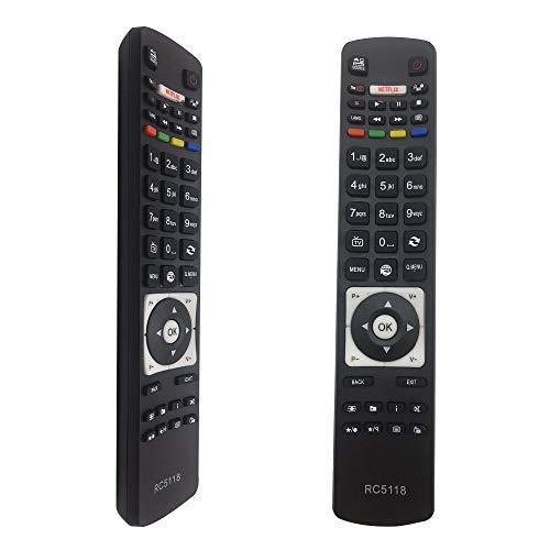 FOXRMT Sostitutivo Telecomando RC5118 di ricambio per Telecomando Hitachi Telefunken Smart TVs C55U320N4CW-3D D40F287M4CW D40U292X4C D43F279Q3CW D43F282Y4CW