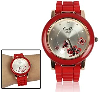 Watch Stylish Butterfly Style Quartz Wrist Watch with Diamond Dial, Fashion Watch (Color : Red)
