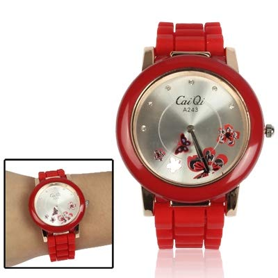 Somviersb Montre-Bracelet à Quartz de Style élégant de Style Papillon avec Diamant Cadran 2021 Dernière Montre Quartz Quartz Montre-Bracelet Montre Montre avec Bande d'alliage (Color : Red)