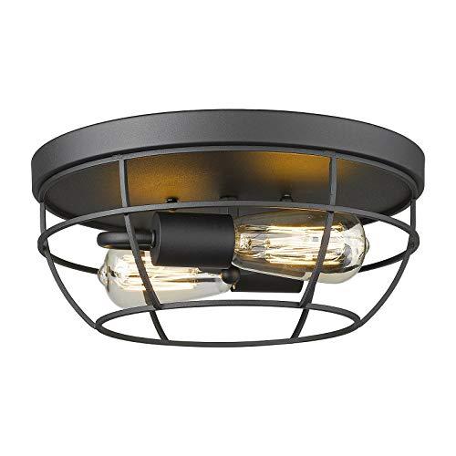 Emliviar Industrial Ceiling Light Fixture - 12 Inch Metal Cage Flush Mount Ceiling Light, Black Finish, YE223F BK