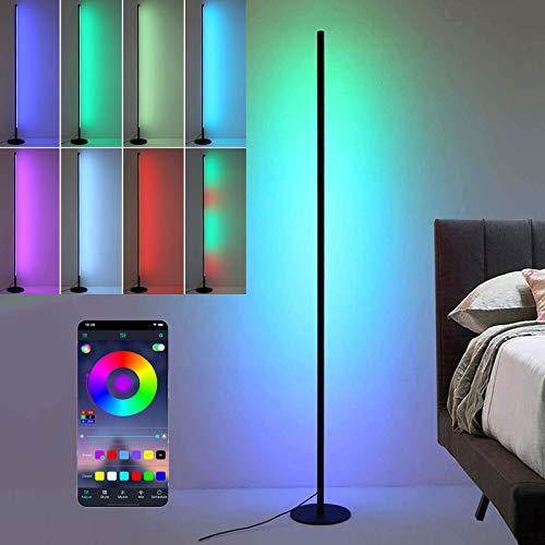 Bueuwe Lámpara de pie LED, lámpara de pie Regulable RGB y temperaturas de Color, Estilo nórdico para salón, Dormitorio, Oficina,Hotel,140x18cm/Mobile App
