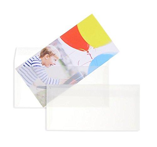 500 Stück, Transparente Briefumschläge, DIN Lang, Haftklebung mit Abziehstreifen, Gerade Klappe, 90 g/qm Offset, Ohne Fenster, Weiß (Transparent-Weiß), Blanke Briefhüllen