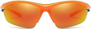 Fashion New Half Frame Outdoor Riding Sports PC Material Sunglasses Orange Lens White/Orange Frame Men's Polarized Sports Driving Sunglasses Retro (Color : Orange)