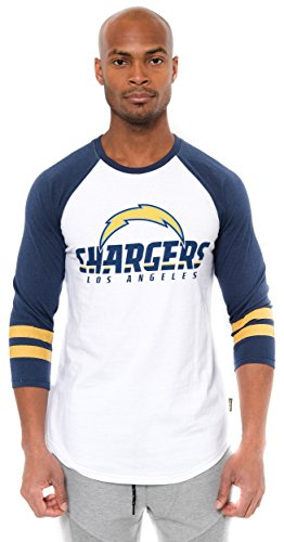 Ultra Game NFL Los Angeles Chargers Mens Raglan Baseball 3/4 Long Sleeve Tee Shirt, White, X-Large