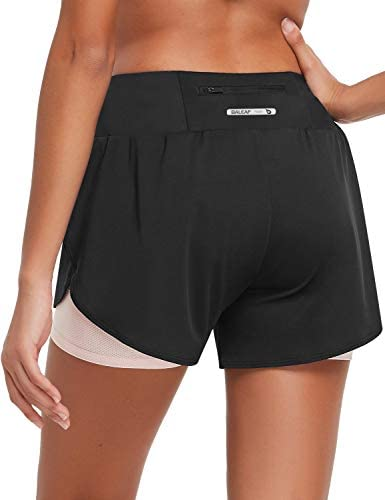 BALEAF Women s 2 in 1 Running Shorts 3 Inch Athletic with Liner Zipper Pocket Drawstring Gym product image