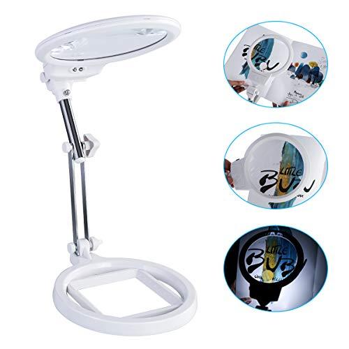 1 lupa de escritorio de 2 y 6 aumentos, luz LED brillante con soporte, para lectura/bordado/grabado/costura, etc. (color blanco)