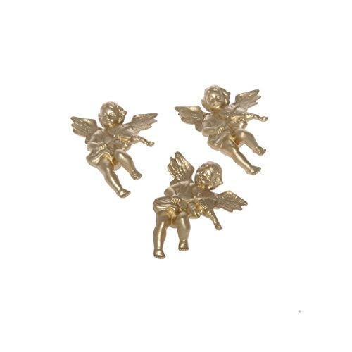 Decoratieve engel goud – kerstdecoratie – tafeldecoratie – adventskrans – Kerstmis – ca. 4,5 x 5,5 cm - 1 VE = 3 x 3 stuks - A107