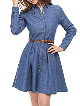 Allegra K Women s Long Sleeves Belted Flared Above Knee Denim Shirt Dress X-Large Blue