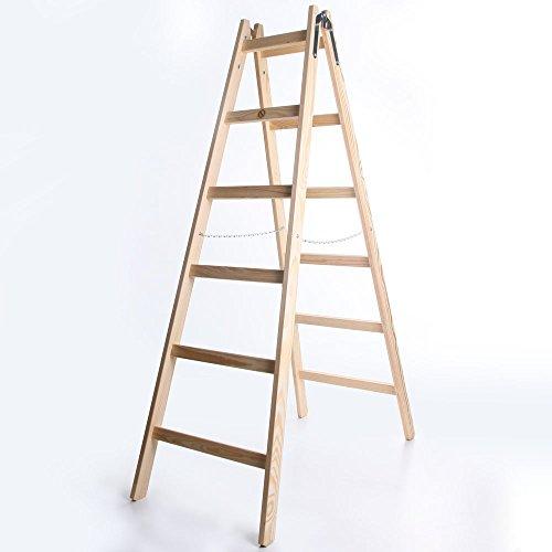 Holzleiter STANDARD 2x6 Stufen Zweiseitige Klappleiter Leiter Haushaltsleiter 150kg