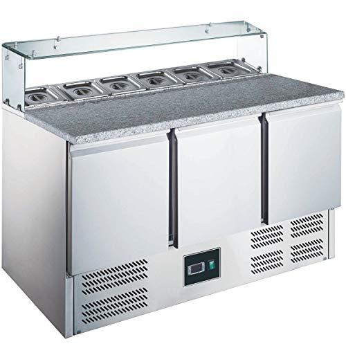 ZORRO - Pizzatisch ZPS 300 G - 3 Türen - Kühltisch mit Granitplatte - Salatkühlung - Gastro Belegstation