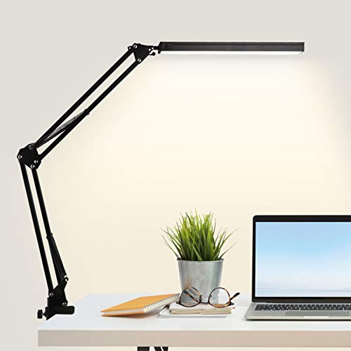 Lámpara de Escritorio LED con Pinza,10W Lámpara de Mesa de Cuidado Ocular Brazo Oscilante Abrazadera Luz Regulable con 3 Modos de Color,Memoria para Lectura Trabajo Oficina