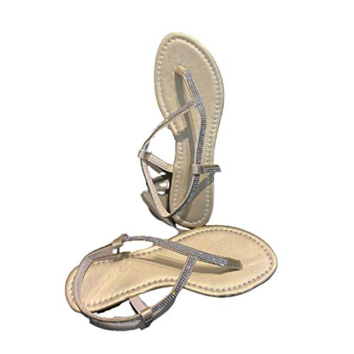 Señoras gladiador diario diamantes de imitación verano Clip dedo del pie zapatos de mujer ancho ancho exterior barra en T playa moda suave sandalias de negocios