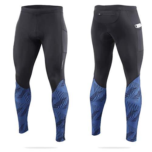 BALEAF Men's Cycling Pants 4D Padded Bike Long Tights Bicycle MTB Riding Leggings Pockets UPF50+ Blue XL