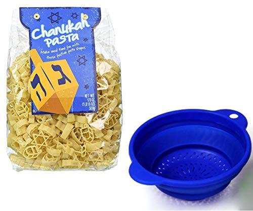 Happy Chanukah Stars & Dreidel Shaped Pasta with Blue Collapsible Pot Strainer Hanukkah Holiday Gift Bundle