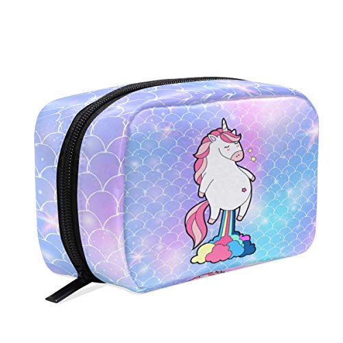 Caja de cosméticos con diseño de Unicornio y Escamas de Sirena, para Guardar artículos de tocador de Viaje, para Mujeres y niñas