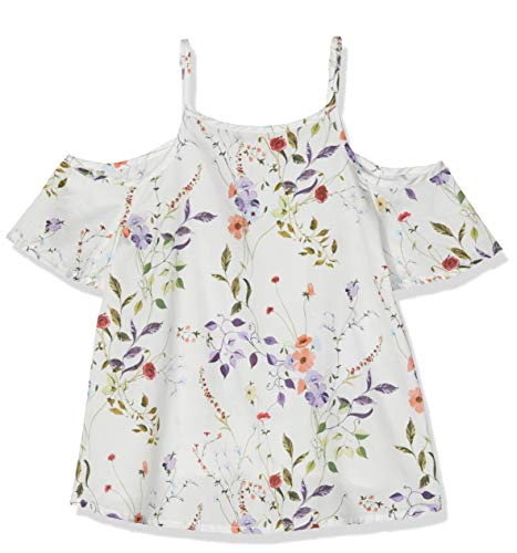 NAME IT Mädchen NKFHUSSA SS BLOUSE Bluse, Weiß (Bright White), 122 (Herstellergröße: 122-128)