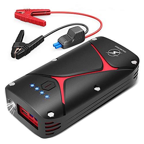 FLYLINKTECH starthulp voor auto, 1000 A starthulp batterij 12 V jump starter booster auto waterdicht IP68 powerbank 15000 mAh startaccu auto met QC 3.0 en type C C