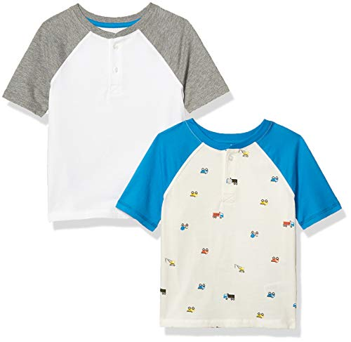 Amazon Essentials 2-Pack Boys Short-Sleeve Henley Fashion-t-Shirts, 2er-Pack LKW, 104-110