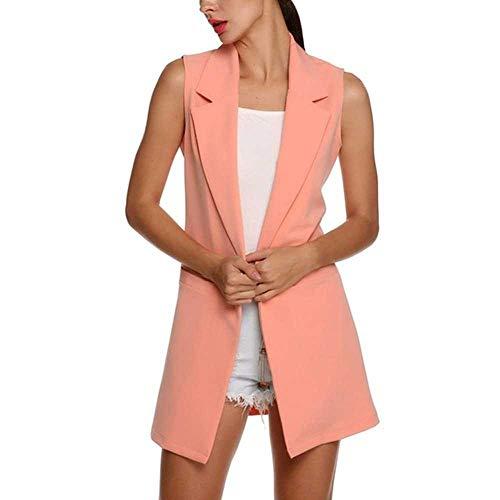 KJMAO Damen-Strickjacke, ärmellos, einfarbig, lockere Jacke, schmal Gr. Medium, P