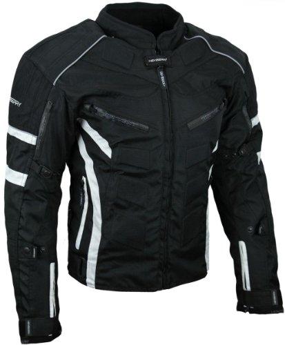 HEYBERRY Kurze Textil Motorrad Jacke Motorradjacke Schwarz Weiß Gr. XL