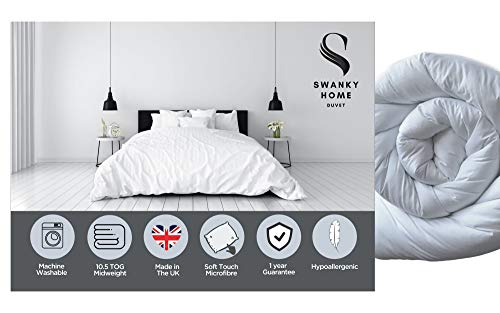 SWANKY HOME Premium Soft Luxurious Microfibre Duvet | Fine Hollowfibre Filling Duvets | Hypoallergenic Machine Washable Quilt | All Year & Seasons 10.5 Tog - Double Size