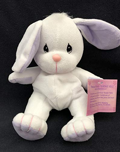 Precious Moments Tender Tails White Bunny with Lavender Ears #516597