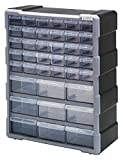 Quantum Storage PDC-39BK Clear Plastic Parts Storage Hardware and Craft Drawer Cabinet, 39 Drawers