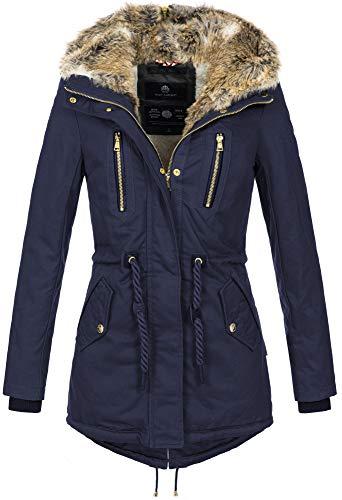 Navahoo warme Damen Winter Jacke lang Teddyfell Winterjacke Parka Mantel B648 (Gr. M/Gr. 38, Navy)