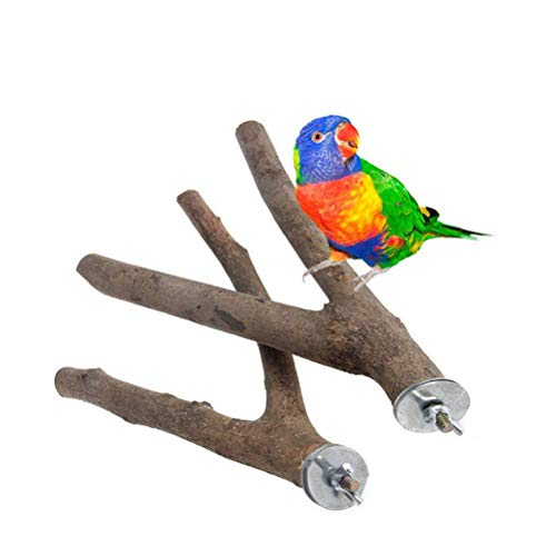 POPETPOP Vogel Sitzstangen 2 Pack-Sitzstangen für Vogelkäfige Papagei Naturholz Gabelständer Barsch Vogelkäfig Zubehör (15cm)
