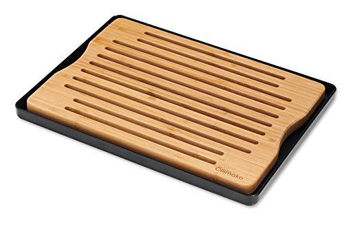 Ollimako - Tabla de cortar para pan con funda para migas de bambú con bandeja recogedora (negro)