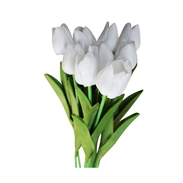 Bigpea 20 Piezas Blancas 13.8 Pulgadas Flores de Tulipanes Artificiales para la DecoracióN del Partido, DecoracióN del…