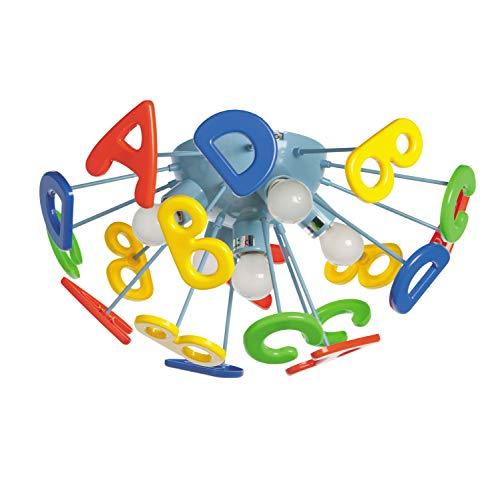 MW-Light 365013705 Deckenleuchte Kinderlampe Buchstaben Mehrfarbig Jugendzimmer E14 5 Flammig x 40W 230V