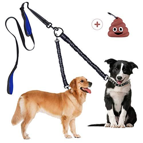 Doppio Guinzaglio per Cani Nessun Groviglio, Guinzaglio Staccabile Multifunzionale per 1 o 2 Cani , Guinzaglio Elastico Riflettente per Cani, assorbe Gli Urti, con Divertente Dispenser per Sacchetti