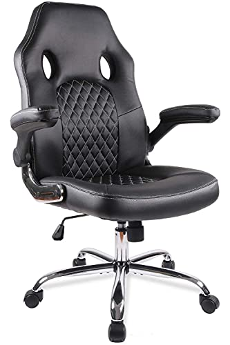Office Chair, Gaming Chair, Comfortable Ergonomic Task Computer Desk Chair, Swivel Home Office Chairs with Flip-up Arms and Adjustable Height, Black