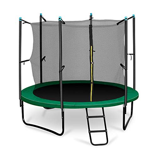 Klarfit Rocketboy 250 Gartentrampolin Kinder Trampolin mit Netz (2,5m Durchmesser, inkl. Leiter und Sicherheitsnetz, gepolsterten Stangen breite Leiter, bis max. 150kg) grün