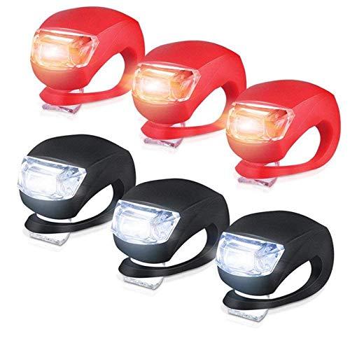 XWYWP Juego de luces de bicicleta de silicona para bicicleta, 6 piezas de luces LED para bicicleta (3 LED blanco y 3 luces LED rojas) linterna para negro
