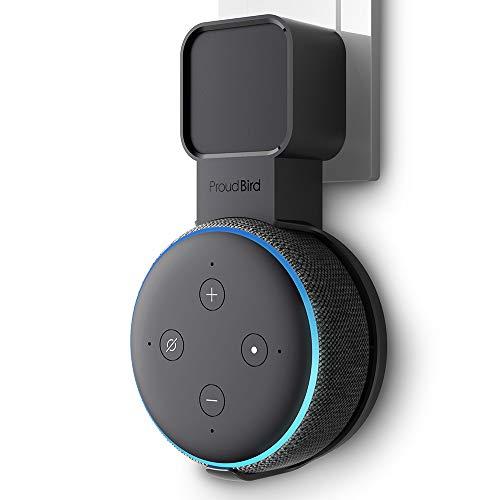 P5+ Halterung Wandhalterung Ständer für Dot (3. Gen.), Eine Platzsparende Lösung für Smart Home Lautsprecher, Speaker Zubehör Halterung mit Kabelanordnung, Keine Unordentlichen Drähte (Schwarz)