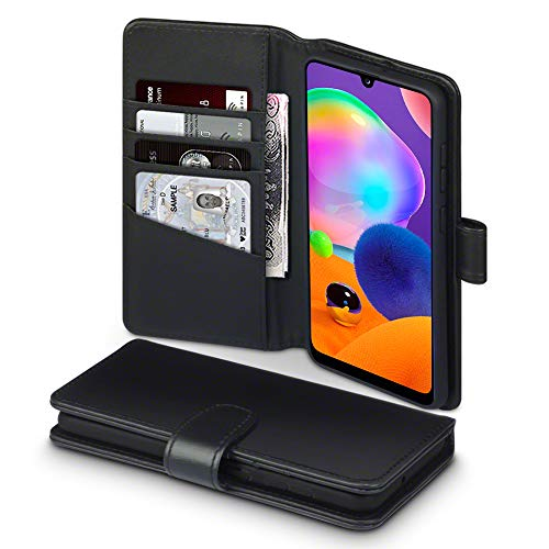 TERRAPIN, Kompatibel mit Samsung Galaxy A31 Hülle, [ECHT Leder] Brieftasche Hülle Tasche mit Standfunktion Kartenfächer & Bargeld - Schwarz