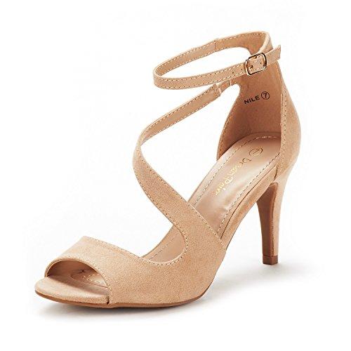 DREAM PAIRS Women's Nile Nude Fashion Stilettos Open Toe Pump Heel Sandals Size 5.5 B(M) US