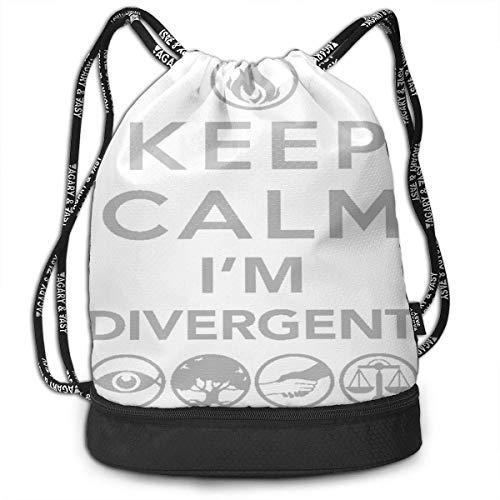 Mochila, Bolsa de Deporte, Bolsa de Deporte, Mochila, Mochilas de día, para Hombre, para Exterior, Deporte, Gimnasio, Drawstring, Keep Calm I'm Divergent