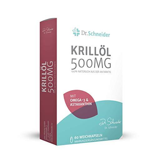 Dr. Schneider Krillöl 500 mg ● rijk aan omega-3-vetzuren (EPA/DHA), astaxanthine en choline ● 100% natuurlijk uit Antarctica ● bekend van Duitse tv ● 60 capsules