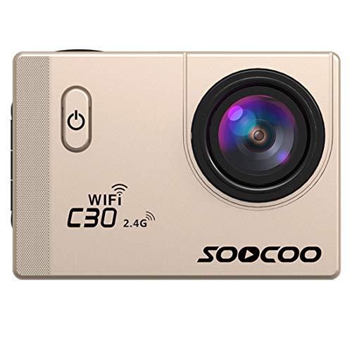 JLYLY Videocamera HD Azione Sport C30R 2.0 Pollici dello Schermo 170 Gradi grandangolare WiFi Sport Action Camera Camcorder con Impermeabile Custodia & Remote Controller (Nero) (Color : Gold)