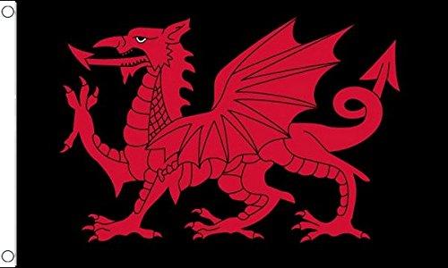 AZ FLAG Flagge Wales SCHWARZER Drache 90x60cm - WALISISCHE Fahne 60 x 90 cm - flaggen Top Qualität