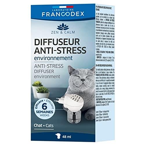 FRANCODEX 1 Diffuseur électrique de phéromones Longue durée + 1 Recharge 48 ML - kit Complet - Anti Stress - réduit Les problèmes comportementaux - qualité française - pour Tous Les Chats