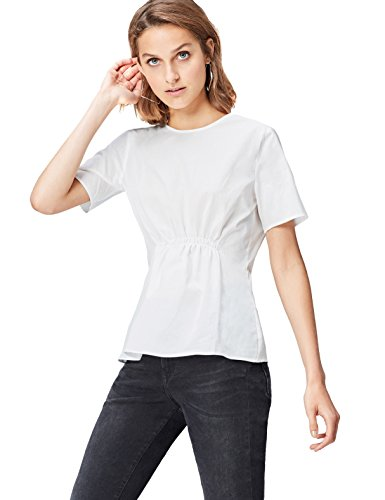 Amazon-Marke: find. Damen Bluse Ruched Front, Weiß (White), 36, Label: S